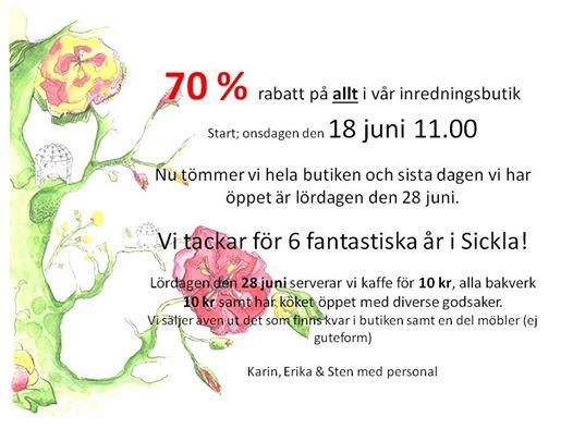 Utförsäljning på Sickla Garden