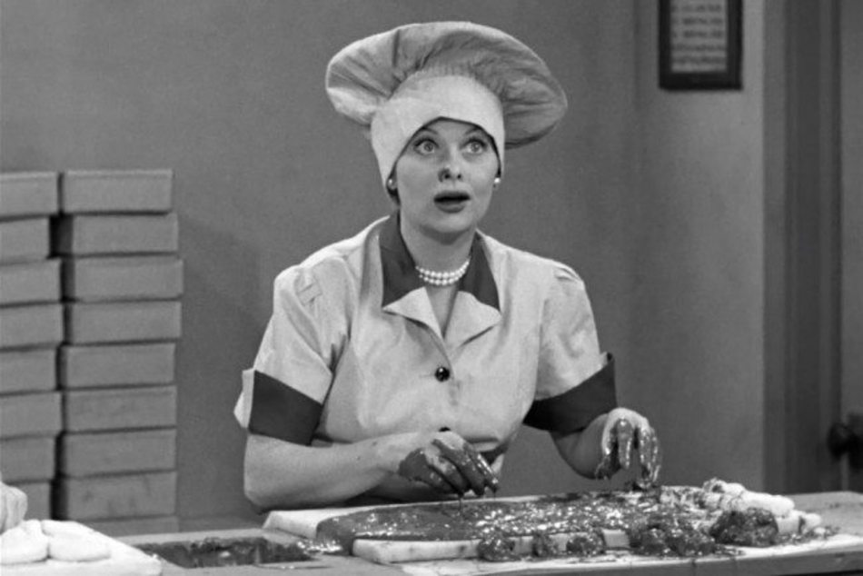Lucille Ball slår in choklad